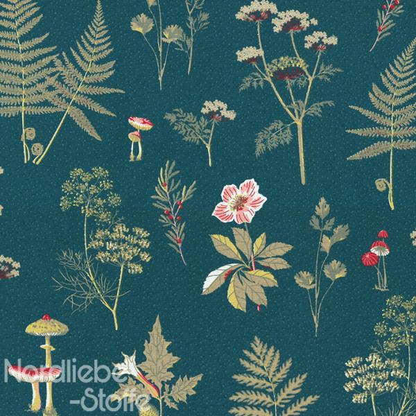 Dekostoff ~ Farn Blätter & Pilze