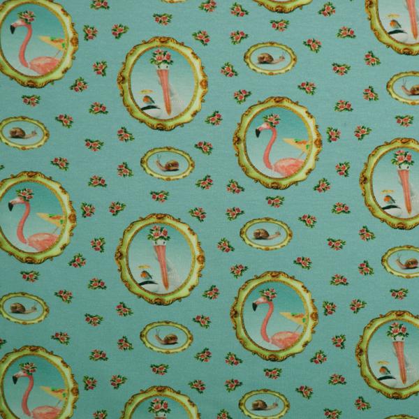Digital Jersey ~ Flamingo im Bilderrahmen 0,74 m LETZTES Stück