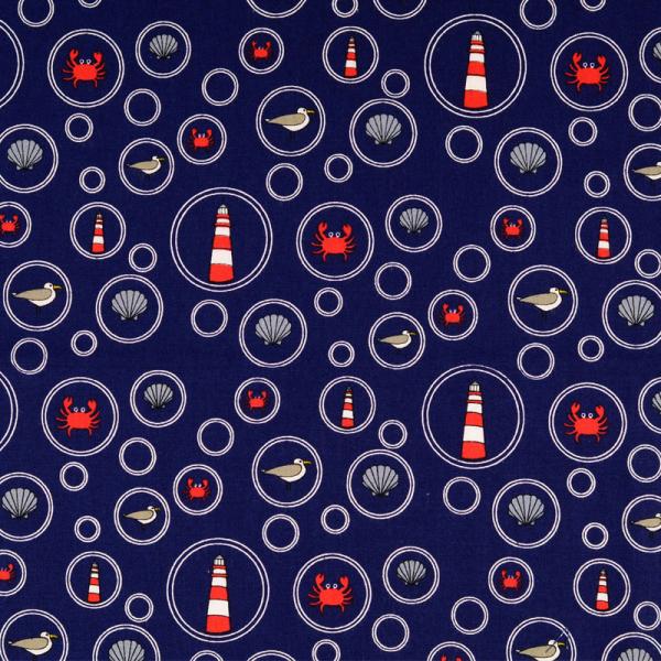 Baumwolle ~ Maritime Motive in Seifenblasen Blau Rot