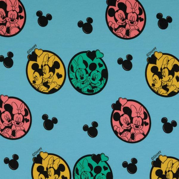 Lizenz Walt Disney Jersey ~ Minnie Mouse & Mickey Mouse verliebt Türkis