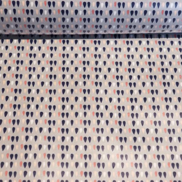 beschichtete Baumwolle ~ Bunte Regentropfen auf Grau