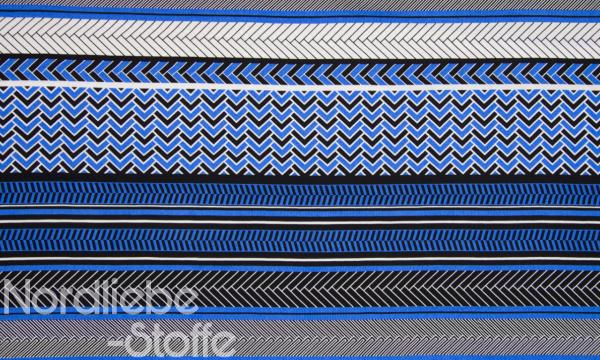 Viskose ~ Streifenmix Royalblau