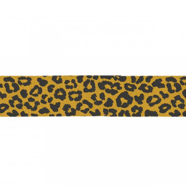 3 Meter Jersey Schrägband 20 mm Leopard Senf