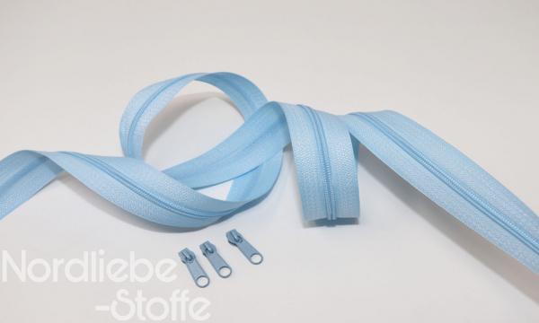 Endlosreißverschluss 3mm hellblau incl. Zipper