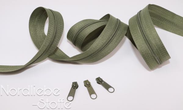 Endlosreißverschluss 3mm schilfgrün incl. Zipper