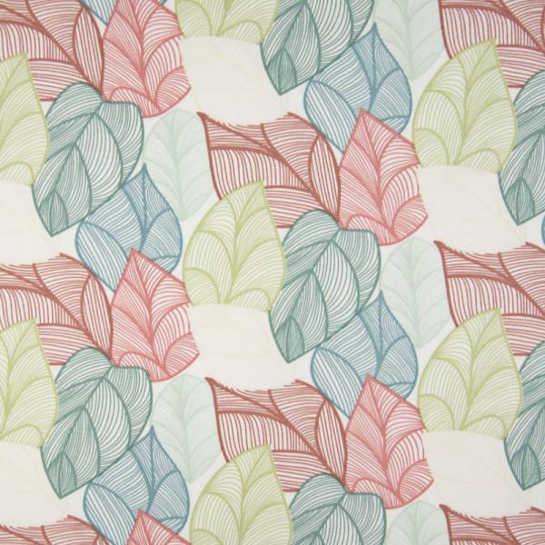ORGANIC French Terry ~ bunte Blätter auf Weiß