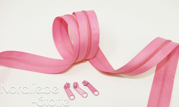 Endlosreißverschluss 3mm pink incl. Zipper