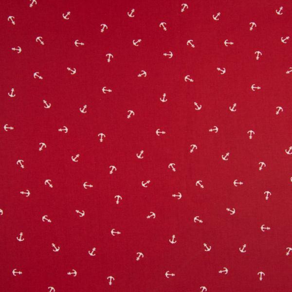 Baumwolle ~ Weißer Anker auf Rot