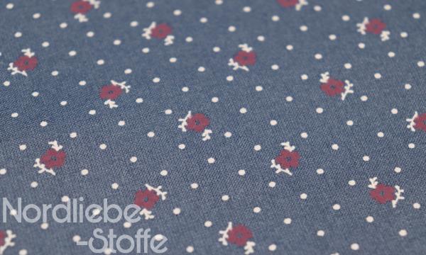 Mercerisierte Baumwolle ~ Rot Vanille Blümchen auf Blau