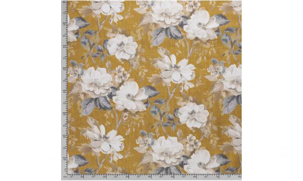 Dekostoff ~ Leinenoptik Blumen Ocker