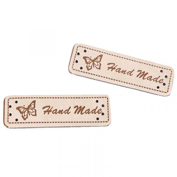 """Kunstleder Label """" Handmade """" natur"""