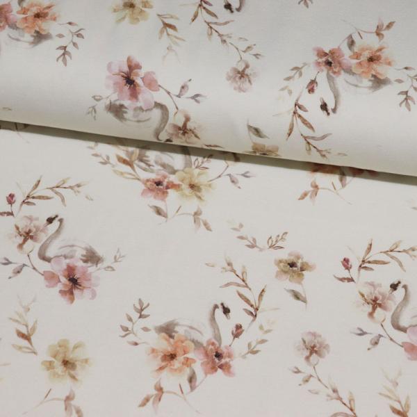 ORGANIC French Terry ~ Aquarell Schwan & Blumen Lachsrosa