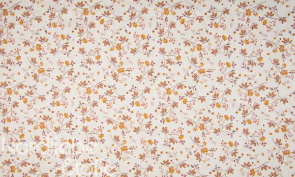 Baumwolle ~ Blumen Ecru 0,52 m LETZTES Stück