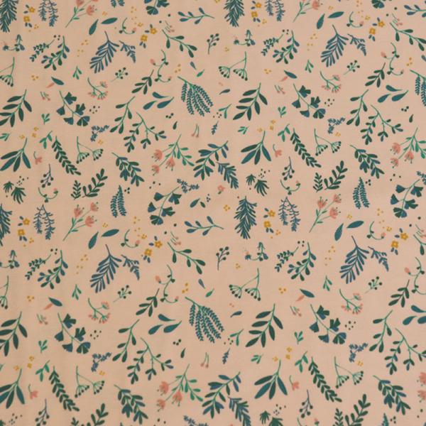 Jersey ~ Blumen & Blätter auf Apricot