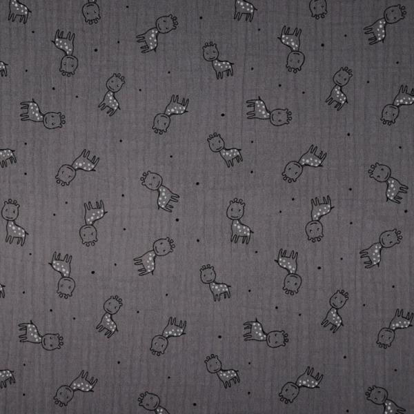 Musselin ~ TRIPLE Giraffe Dunkelgrau