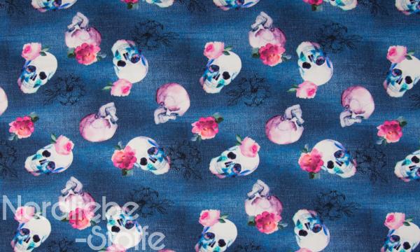 Digital Jersey ~ Totenköpfe auf Jeansoptik