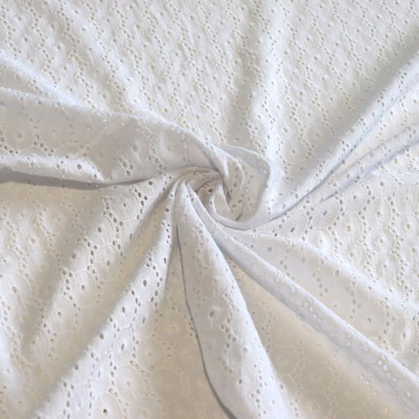 Baumwolle ~ Lochstickerei Weiß