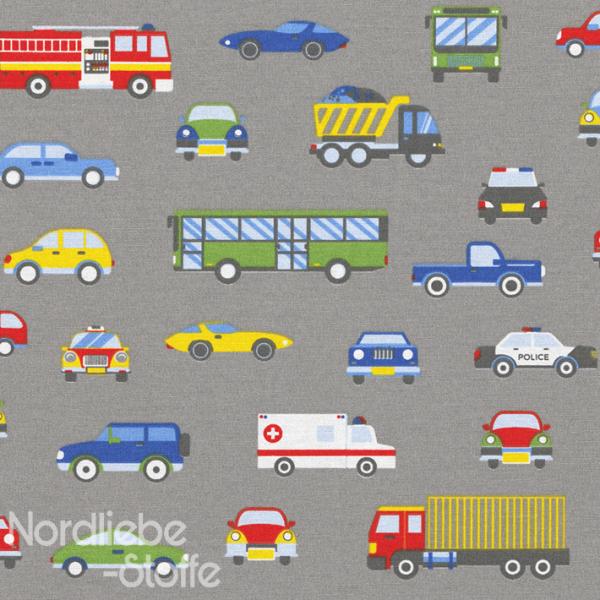 Dekostoff ~ Fahrzeuge auf Grau