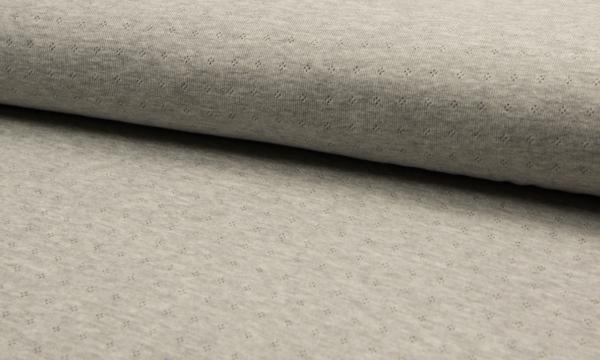 Feinstrick ~ Baumwolle Grau Melange Lochmuster