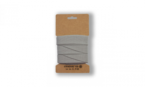 3 Meter Jersey Schrägband SILVER Grey 20mm