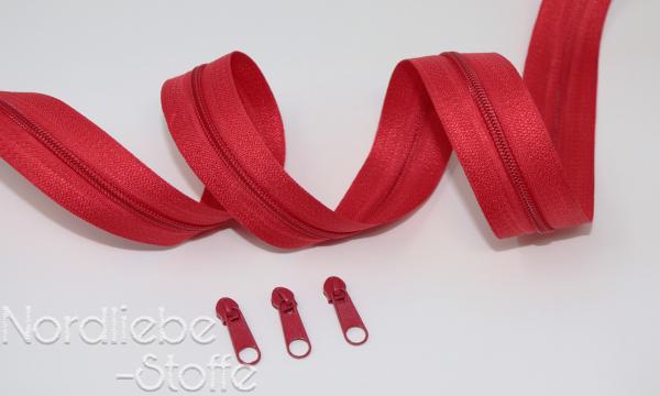 Endlosreißverschluss 3mm rot incl. Zipper