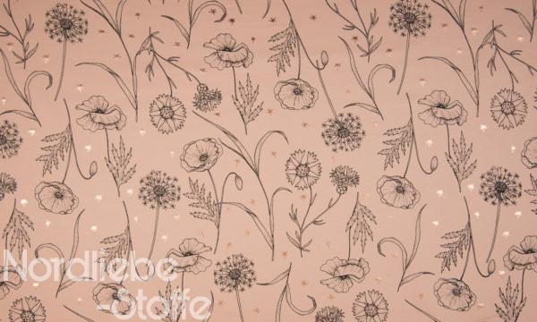 Kuschelsweat ~ Pusteblumen mit Foil Print Lachs