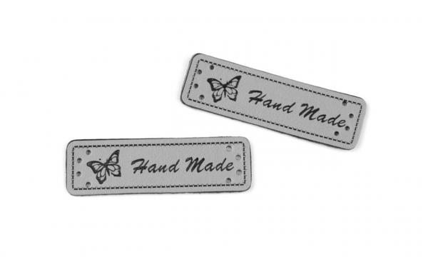 "Kunstleder Label "" Handmade "" grau"