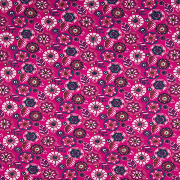 ORGANIC Jersey ~ Blumen Blüten Fuchsia