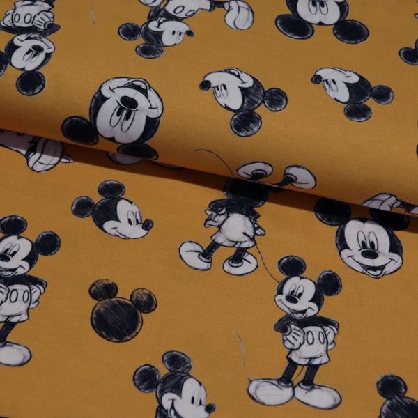 Lizenz Jersey ~ Mickey Maus Schwarz / Weiß auf Ocker