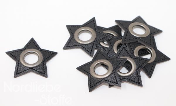 Ösen Patches ~ schwarzer Stern 11mm altsilber