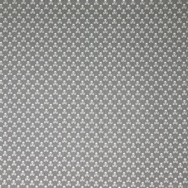 Baumwolle ~ Totenköpfe Mini Grau Weiß