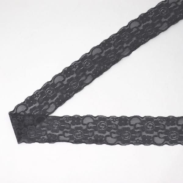 Spitzenborte elastisch 50 mm ~ Uni Grau