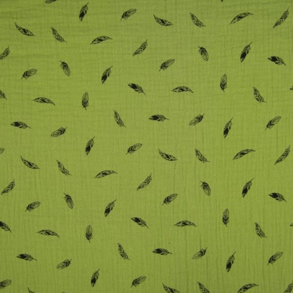 Musselin ~ Federn auf Kiwigrün