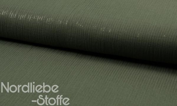Musselin ~ Lurex Streifen auf Khaki