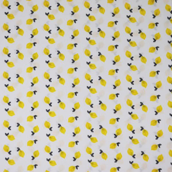 Baumwolle ~ Zitronen auf Weiß