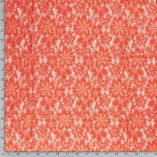 Spitze ~ elastisch mit Blumen Orange