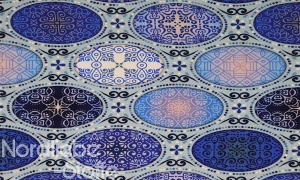 Digital Jersey ~ Ornamente oval Blau