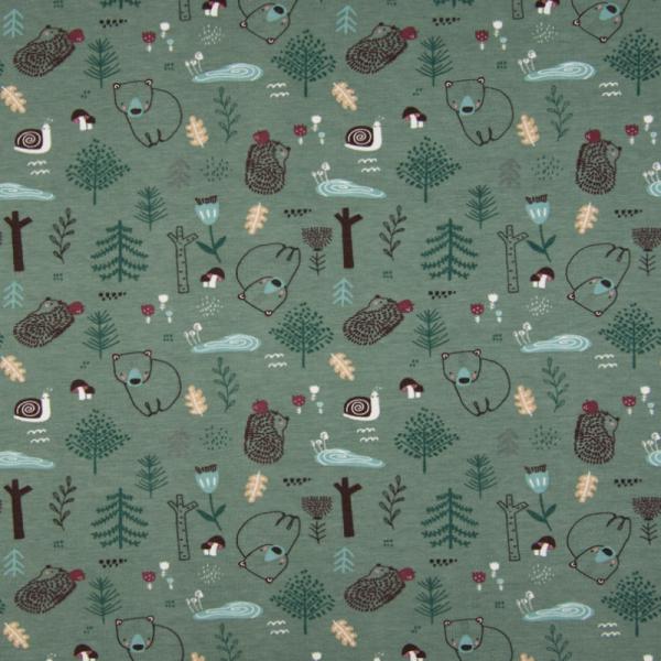 Jersey ~ Igel & Bär mit Schnecke im Wald auf Grün
