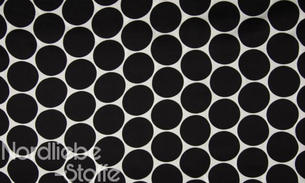 Viskose Satin ~ große Punkte Schwarz