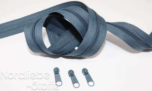 Endlosreißverschluss 3mm schiefergrau incl. Zipper
