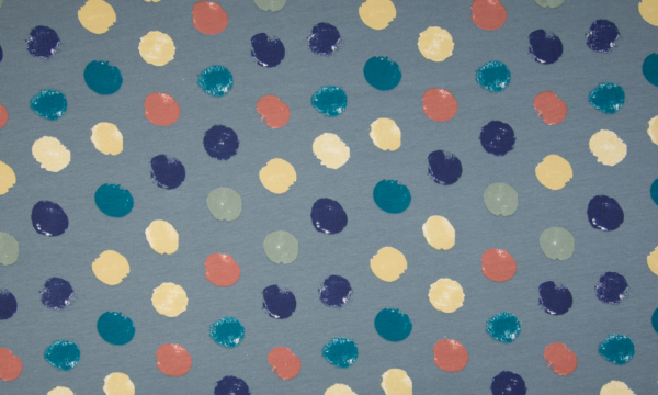 ORGANIC French Terry ~ bunte Punkte auf Blau