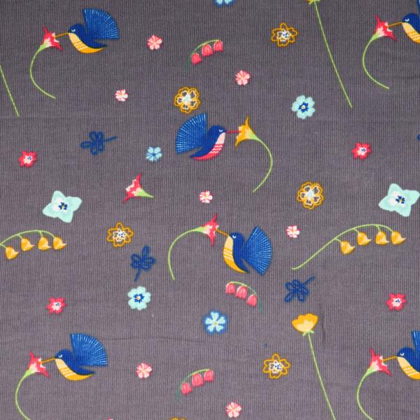 Feincord Blumen & Vögel Grau
