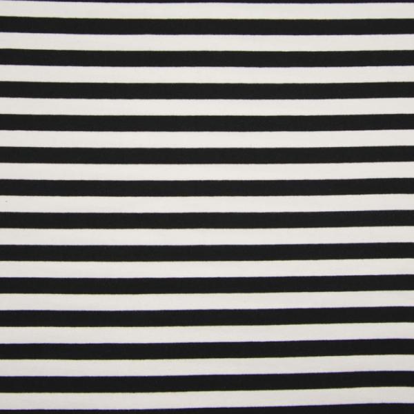 French Terry ~ Streifen Schwarz - Weiß