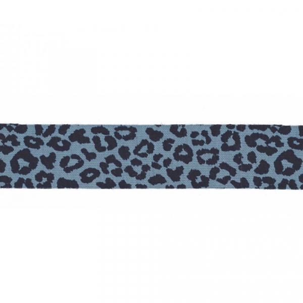 3 Meter Jersey Schrägband 20 mm Leopard Blau