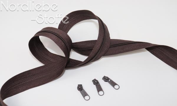 Endlosreißverschluss 3mm schokobraun incl. Zipper