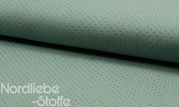 Musselin ~ 3D Multicolor Pünktchen auf Oldgreen