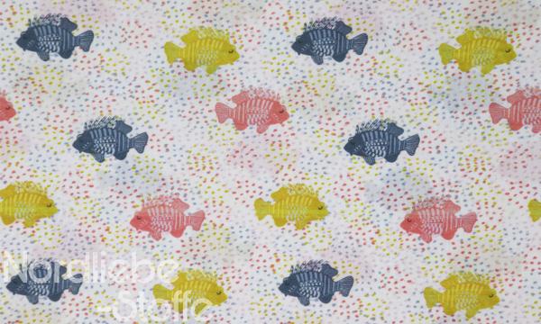 GOTS Organic Baumwolle ~ Fische im Konfetti Meer