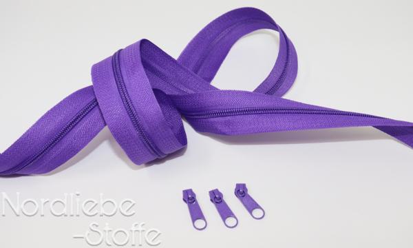 Endlosreißverschluss 3mm lila incl. Zipper