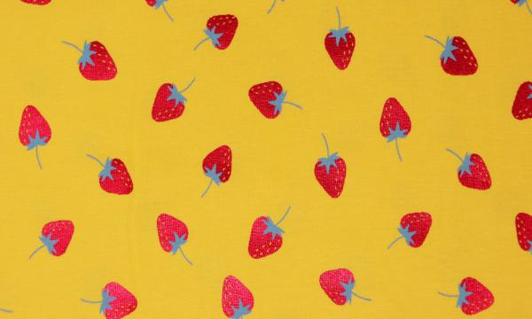 Jersey ~ Rot schimmernde Erdbeeren Gelb