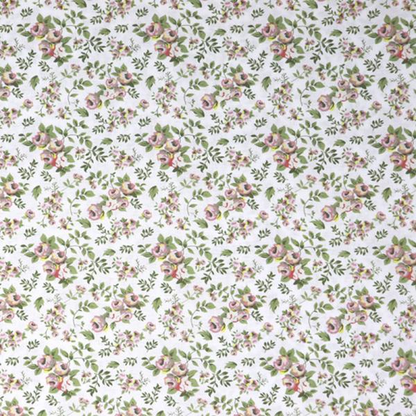 GOTS Organic Baumwolle ~ Blumen Oldrose auf Weiß
